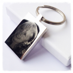 Rectangle Photo/Text Engraved Keyring